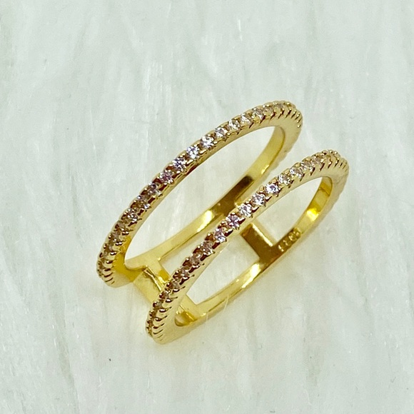 Jewelry - Gold Plated White Sapphire Two Band Ring